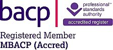 About Kathy Jaloussis. BACP Reg Accred Member logo